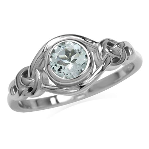 Silvershake Genuine Light Blue Aquamarine White Gold Plated 925 Sterling Silver Celtic Knot Ring Size 5