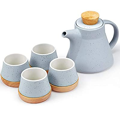 10-Piece Porcelain Ceramic Teapot Set with 4 Cups & 4 Wooden Coasters, Tea Set with Removable Stainless Steel Infuser for Loose Leaf & Blooming Tea, Gift Set, 750ml/25oz Teapot & 150ml/5oz Cups, Blue