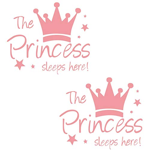 Kukiwhy 2 Pcs Wall Sticker Princess Sleep Here 134 Inch Little Crown Star Art Quotes Wall Decal Decor for Living Room Bedroom