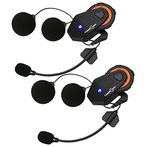 2 piezas EJEAS E6 Multifunctio Moto Intercomunicador VOX BT Auricular Casco Interphone Bluetooth Intercom para 6 pasajeros 1200M Communica