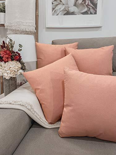Pack 4 fundas de cojines para sofá EFECTO LINO suave, 16 COLORES fundas para almohada sin relleno, cojín decorativo grande para cama, salón. Almohadón elegante en varios tamaños.(Salmón, 45x45cm)