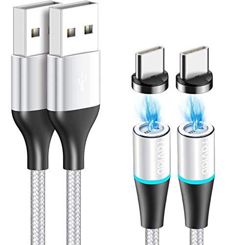 Magnético Cable USB Tipo C, RAVIAD [2Pack, 2M] Magnetico Cargador Tipo C Carga Rápido y Sincronización Cargador iman para Galaxy S10/S9/S8/Note10, Xiaomi Mi A2/A1, Huawei P30/P20, Xperia XZ, LG G7
