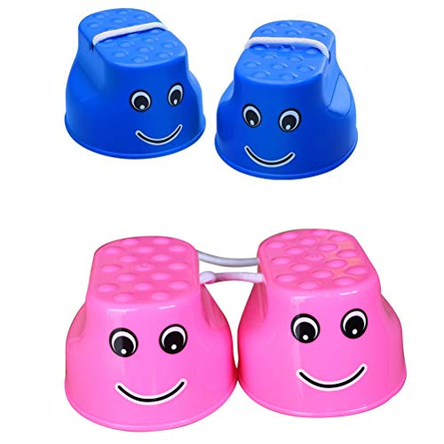 Toyvian 4 Stelzen Balance Walking Stelzen Can Stepper Spielzeug sensorisch Entwicklung früh Bildung Spielzeug (blau und pink)