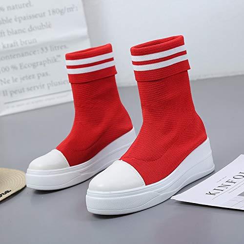 Shukun enkellaarzen voor voorjaar en herfst in de kous, sokken, laarzen, stretchlaarzen, dikke vloer laarzen voor dames, Martin laarzen, zelfs sokken, laarzen