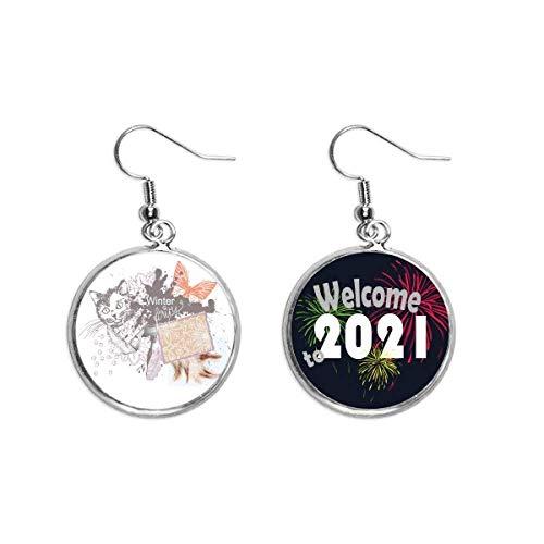 Pendientes de gato y mariposa en tinta para pintar los pendientes de la joyería 2021 bendición