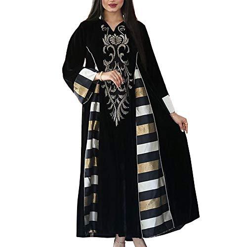 Muslimische Damenbekleidung Gold Samt Bestickt Langes Kleid Abaya Muslim Eid Frauen Langes Kleid,XL