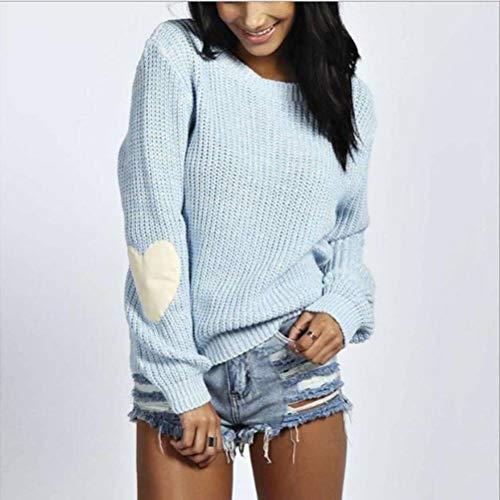 Trui en trui voor dames met ronde hals, eenkleurig, effen S Lichtblauw.