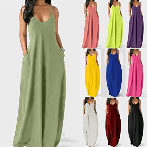 Ramendy Dresses for Women Casual, Cami Long Dress, Plain Maxi Dress Sleeveless Plus Size Summer Party Casual Long Dresses with Pockets.(Wine,XXXL)