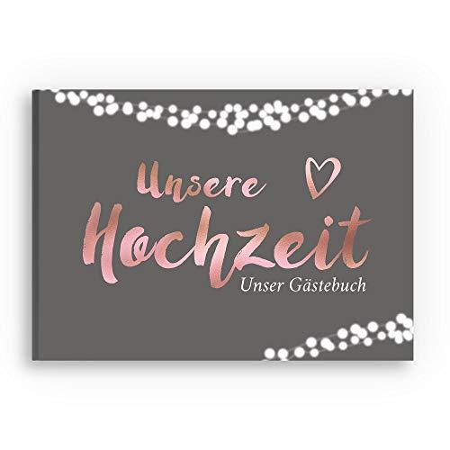 bigdaygraphix Gästebuch Hochzeit ohne Fragen - DIN A4 quer mit Rosegold Folienveredelung -...