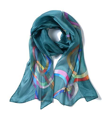 Invisible World – Damen Seidentuch handbemalt Schleifen – langes Halstuch Kopftuch und Haartuch – Blau-Grün