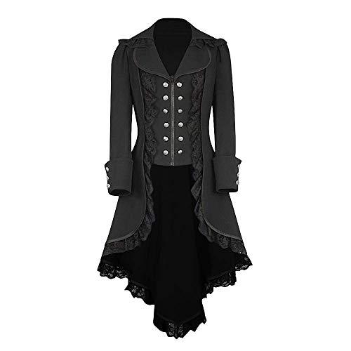 HaiDean Steampunk Dames Jas Elegante Vintage Vrouwen Punk Blazer Moderne Casual Jas Steampunk Gothic Lange Mouw Jas Retro Mid Lengte Jas Cosplay Uniform