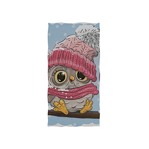 Plosds Fingertip Handtücher für Bad braune Eule Strickmütze sitzt auf AST weiches Handtuch Fingertip Handtuch für Baby Bad Dusche Wrap Gym Sport 30 x 15 Zoll Kleinkind Handtuch
