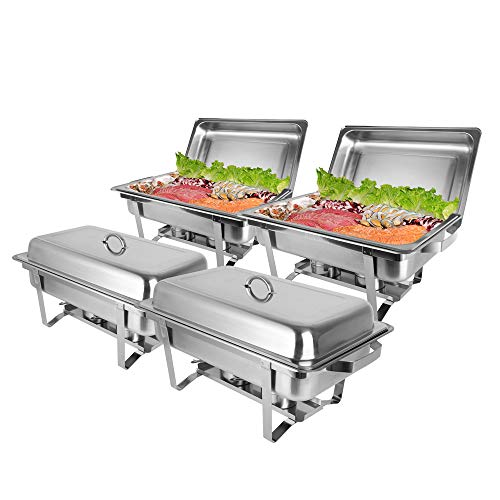 ROVSUN 8 Qt 4 Pack Full Size Stainless Steel Chafing Dishes Buffet Silver Rectangular Catering Chafer Warmer Set with Trays Pan Lid Folding Frame for Kitchen Party Banquet Dining