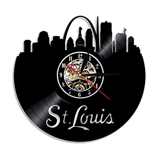 St Louis Skyline America Ciudad Reloj De Pared De Vinilo Para Decoración De Home Reloj De Pared, Ideas De Regalo Para Niños Y Adolescentes, Moderno Reloj De Cuarzo Digital Creativo De 12Inch
