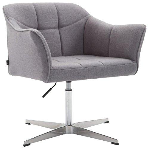 CLP Lounger Jean mit Stoffbezug   drehbarer & höhenverstellbarer Sessel   Lehnstuhl mit Aluminiumgestell   Sitzhöhe von 41-54 cm Grau