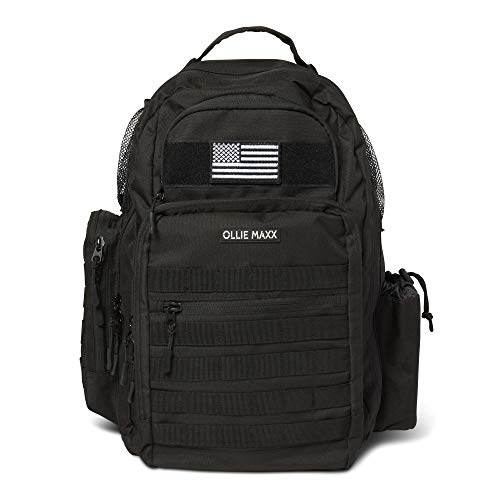 Diaper Bag for Men Baby Gear Diaper Bag Multifunction Travel Backpack for Dad with Changing Mat, Wipe Dispenser, Chest Strap, Stroller Straps, Military Dark Camo with Flag Patch and Insulated Pockets