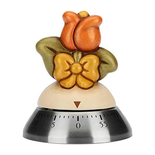 THUN - Timer da Cucina Manuale Decorato con Tulipano Rosso e Fiocco - Accessori Cucina - Linea Country - Ceramica, Acciaio Inossidabile - 9,2 h cm