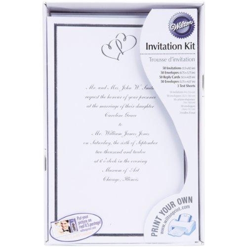 Wilton White Hearts Traditional Wedding Invitation Kit, 100pcs,