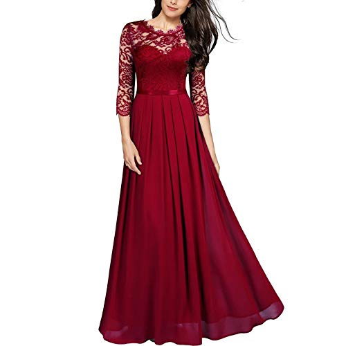 Women Short Sleeves Lace Side Wedding Party Bridesmaid Long Maxi Dress Red