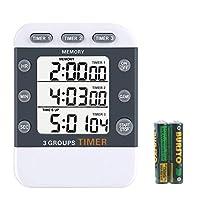 iwilcs timer digitale a 3 vie cronometro digitale da cucina timer digitale a 3 canali timer digitale portatile, timer per cucinare, con supporto magnetico, cordino, batteria inclusa