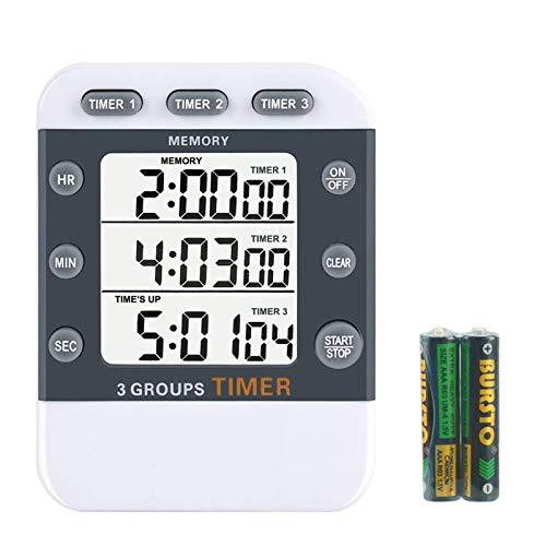 IWILCS Minuteur Numérique à 3 canaux Minuteur de cuisine Compte à rebours numérique portable Avec dos magnétique Support - Cordon (pile incluse)