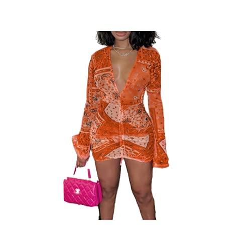 N\P Vestido de fiesta de malla rosa bandana para mujer con malla acampanada larga