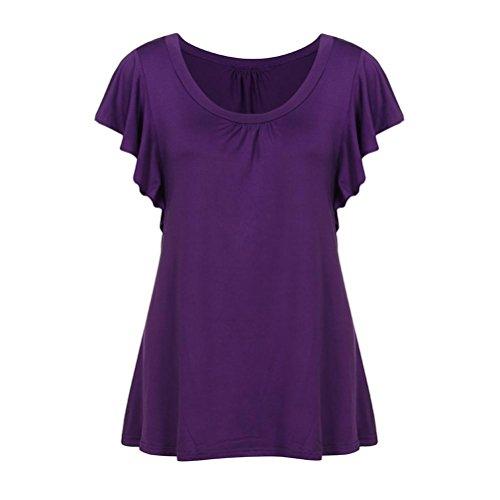 VEMOW Sommer Frauen Damen Mädchen Kurzarm O Neck Plissee Tops Lässige Flowy T-Shirt Tunika T Shirts Bluse T-Shirts Pullover (52 DE / 4XL CN, Lila)