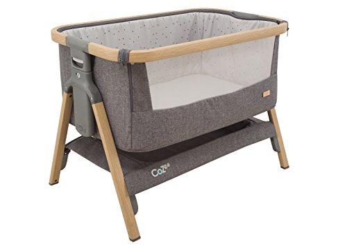 Baby-Beistellbett COZEE, Babybett für zuhause oder als Reisebett, 80,5 x 51 cm, anthrazit-oak