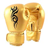 Wsobue Guantoni da Boxe, Kickboxing, Muay Thai Sparring Allenamento Sacchi Guanti da Uomo e Donna (Giallo, 10 OZ)
