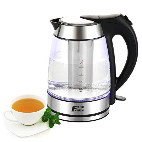 Kyman Wasserkocher mit abnehmbarem Edelstahl-Filter, 1.7L siedendes Wasser/Tee-2 in 1 Etwas herstellen, Boiler for Familie und Büro, ruhig Schnell Boil leicht zu reinigen - 1850W