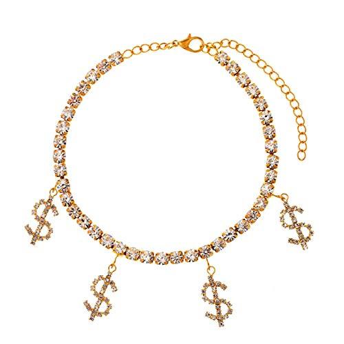 Tobillera mujer niña diamantes de imitación signo de dólar tobilleras para las mujeres oro plata color cristal tenis cadena pie pulsera moda playa 004701GD