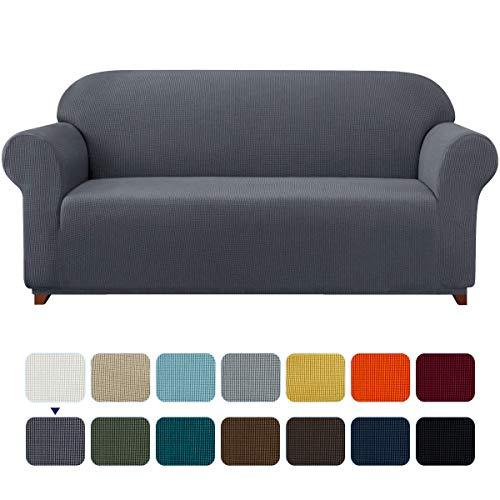 subrtex Spandex Sofabezug Stretch Sofahusse Couchbezug Sesselbezug Elastischer Antirutsch Stretchhusse für Sofa (3 Sitzer, Grau)