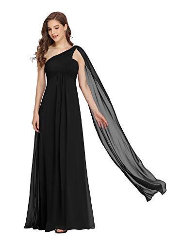 Ever-Pretty Vestito da Sera Donna Monospalla Linea ad A Chiffon Stile Impero con Cinghia Nero 42