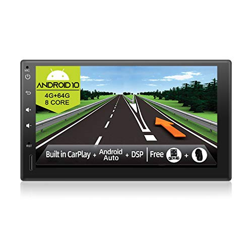 JOYX Android 10 Autoradio Stereo - [4G+64G] - [Built-in DSP/Carplay/Android Auto] - Gratis Cámara Micrófono - 7 Pulgada 2 DIN -Apoyo Dab 4G WLAN Bluetooth5.0 Mandos de Volante 360-Cámara 4K-Video