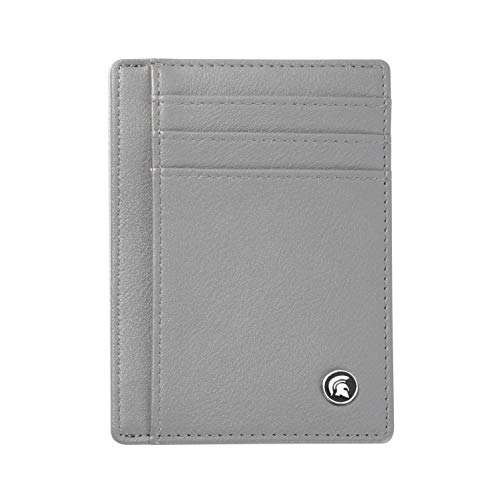 POWR Mens Wallet, Slim RFID Blocking Minimalist Credit Card Holder (Grey), Holds up to 7 Cards and Bank Notes, Ideal for Travel
