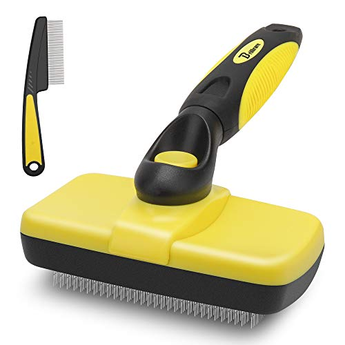 BRILLIARE Self-Cleaning Slicker Brush+Free Stainless-Steel Comb, Easy to Clean Dog Brush, Retractable Pet Grooming Brush, Premium Grooming Tool, for Small, Medium&Large Dog&Cat with Short, Long Hair