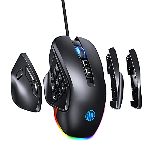 RBG Wired Gaming Mouse INPHIC PG9, 8/14 Programmable Button With 4 Replaceable Side Plates, Brilliant RGB Backlight, Max 10K DPI with 6 Adjustable Level, Ergonomic MMO Gaming Mouse for PC Gaming-Black