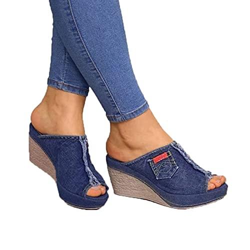 NGLSCXR Ladies Ankle Strap Sandals Summer New Denim Sandals Shoes Women's Casual Ladies Universal Sandals Women's Peep Toe High Heel Denim Sandals