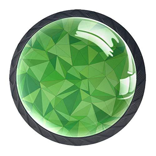 YATELI Azulejo Mosaico Geométrico Abstracto Verde Perillas de extracción de para gabinetes, armarios, Puertas y cajones de Muebles: se Venden como un Paquete de 4 perillas