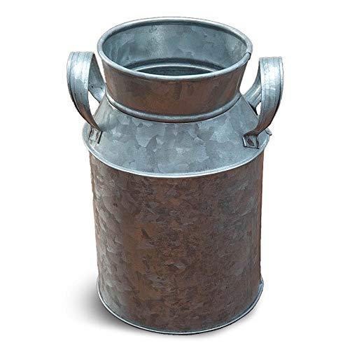 NIRMAN Jarrón decorativo de metal galvanizado rústico, decorado rústico para sala de estar, dormitorio, cocina.