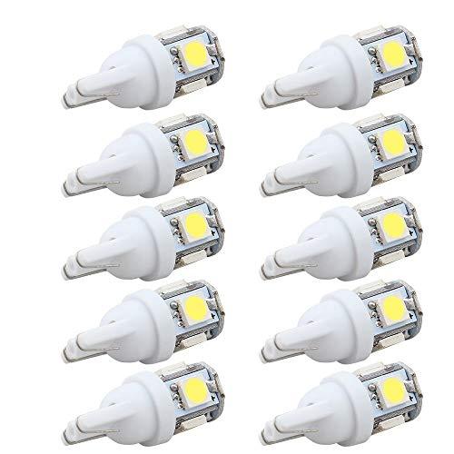 Bombilla LED Bombilla Led for Coche DC 12v Lampada Light T10 5050 Super White 194 168 W5w T10 Bombilla Led de Estacionamiento Auto Wedge Liquidación Lámpara 10Pcs para la calle, garaje, iluminación de
