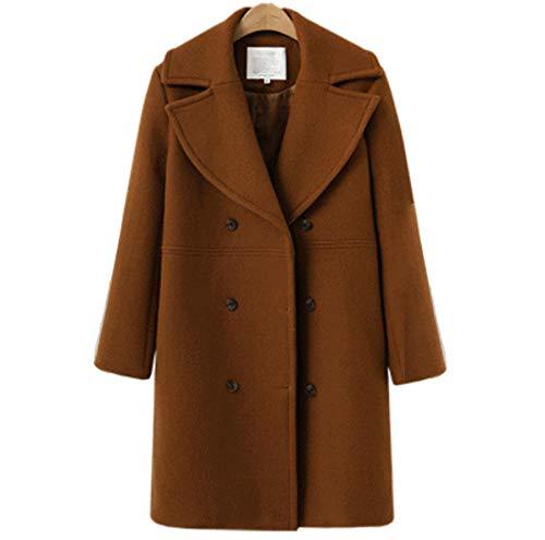 Winterklassischer Woll-Trenchcoat für Damen, Knopf-Parka-Mantel, L, braun