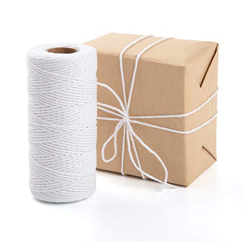 328 Feet Cooking Twine, Cotton Twine String, Cotton Rope for Gift Wrapping, Handmade Crafts, Gardening, Packing, Cooking (White)