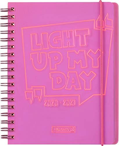 "BRUNNEN 1071890071 ""Light up"", Wochenkalender/Schülerkalender 2020/2021, 2 Seiten = 1 Woche , Blattgröße 12 x 16 cm , A6 , PVC-Einband , pink"