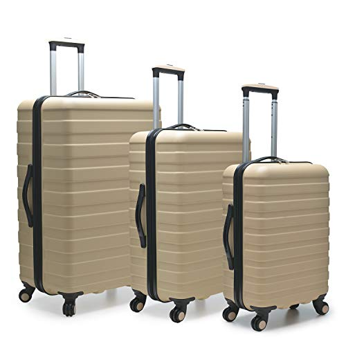 U.S. Traveler Cypress Colorful Hardside Spinner Luggage Set 3-Piece, Sand