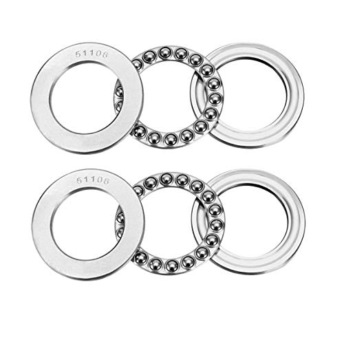 L-A 51106 Thrust Ball Bearings 30mm x 47mm x 11mm Bearing Steel Single Row Roller (2 Pcs)