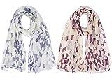 heekpek Pañuelo de Seda Mujer Elegante Bufanda Moda Chals Señoras Elegante Estolas Fular Manton Estampado de Mujer (A+B)