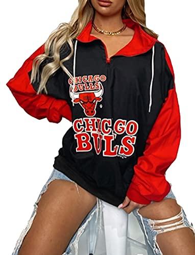 Suéteres de Baloncesto Lakers y Bulls, Sudaderas con Capucha de Manga Larga de Baloncesto para Mujeres, Sudaderas Casuales M C