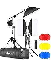 Neewer 3 stuks 2.4G LED softbox verlichtingsset met kleurenfilter: 20x28 Softbox 3200-5600K 48W dimbaar LED-licht licht statief arm tas voor video-opnames in de fotostudio