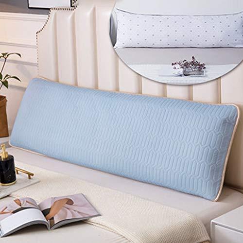 Memoria Almohada de látex Mat Doble Protección Almohada Cervicales Ayudar a Dormir Almohada (Color : Azul, Size : 48×180cm)